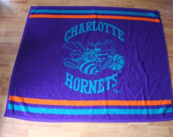 Vintage Charlotte Hornets Collectible NBA Throw Blanket. Rare 90s Charlotte Hornets Turquoise And Purple Retro NBA Home Decor Gift