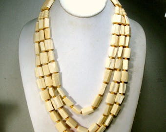 OxBone Bead Necklace, Tribal 3 Strand Rectangular Beads, Primitive Natural Cream Color Multistrand , Lovely Buttery White Color 1980s