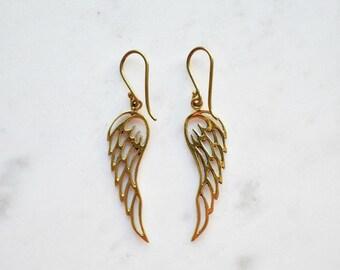 Angel Wing Earrings, Gold Angel Wing Earrings, Brass Earrings, Angel wing earrings, Guardian Angel Earrings Jewellery, Mothers Day Gift