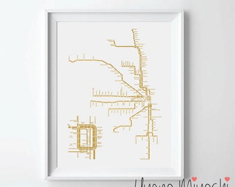 Chicago Metro System Map Gold Foil Print, Gold Foil Print, Chicago CTA System Map Print in Gold, Art Print, Raill System Gold Foil Art Print
