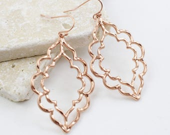 Rose Gold Moroccan Earrings, Rose Gold Quatrefoil Earrings ,Filigree Earrings, Chic Bohemian  Earrings, , Bridesmaid Earrings-2004