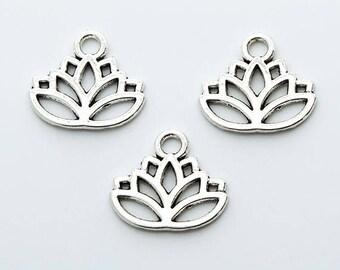 Lotus Blume Charm Anhänger 10 Stück. 17x14mm Antik Silber
