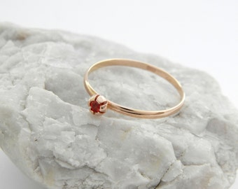Rose gold ruby ring, 14k solid gold red sapphire ring, statement rose gold ruby ring, red sapphire gold ring