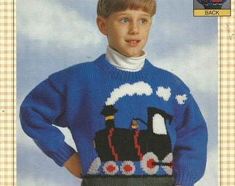 5ce406a61 BERNAT Knitting Pattern - Presents EWE Can Knit - The TRAIN - 1808 - Sizes  2-8 - Copyright 1996 - Child s Pullover Sweater