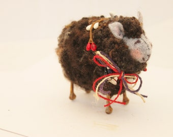 Sheep Little  Black Sheep Prim Americana 4th of July  Needle Felted Sheep #3461