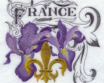 Iris France Fleur De Lis Embroidered Fleece Blanket Throw..3 Sizes....FREE SHIPPING