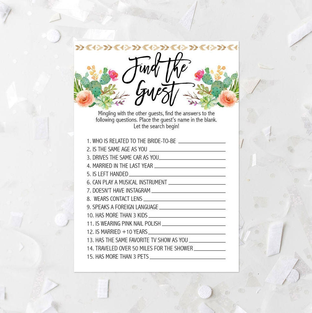 Cactus Find The Guest Game Printable Cactus Bridal Shower Game