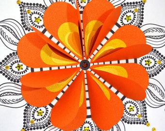 Framed mandala picture, zentangle art, mandala wall art, 3D mandala, folded hearts, quirky art, quirky gift