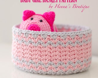 Crochet Basket Pattern - Baby Girl Basket - PDF