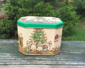 Tin Collectible Christmas Tin Holiday Decor Hinged Tin Children Caroling Christmas Tree