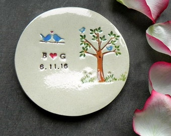 Personalized Blue Bird and Tree Ring Holder, Little Bird Wedding Engagement Ring Dish, Ivory Ring Pillow, Custom Anniversary Ring Bearer
