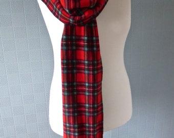 Scottish Royal Stewart Tartan scarf, extra long tartan scarf, 9' red plaid scarf