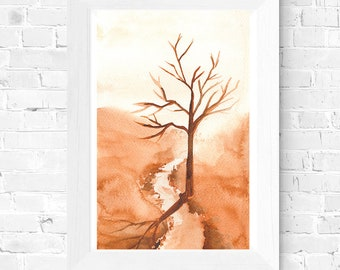 Desert Watercolor Painting - Lone Tree in the Summer