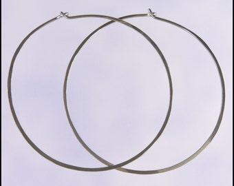 Large 18 gauge niobium hoop earrings: 2 inch diameter