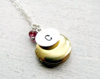 Personalized Locket, New Mother Gift, Mom Gift, Birthday Gift, February Birthstone Jewelry, Custom Birthstone Necklace, Birthstone Locket