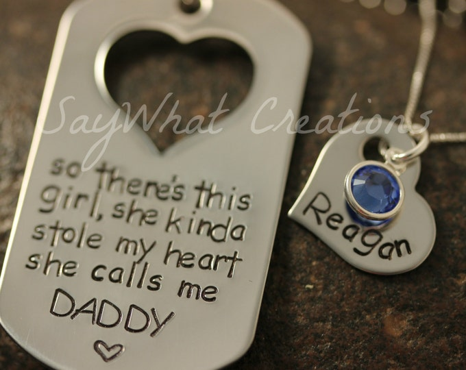 Daddy Daughter Matching Necklace or Key Chain Set So there's this girl she kinda stole my heart she calls me DADDY