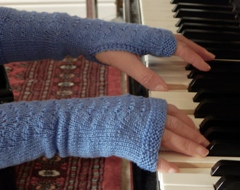 Hand knitted Hand Warmers in blue 100% wool yarn