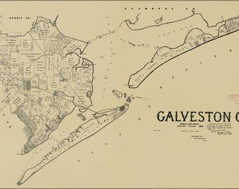 Poster, Many Sizes Available; Map Of Galveston Co. Texas 1892
