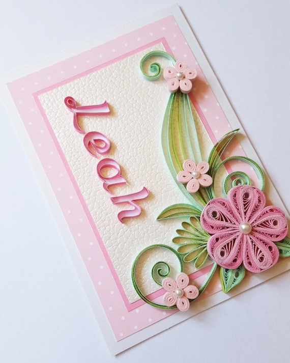 Personalised name card quilling card with name girl like this item bookmarktalkfo Images