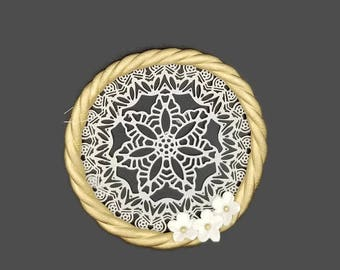 Large Gumpaste Dreamcatcher, for boho weddings, baby showers, birthdays, gumpaste cake toppers, gold and white decorations