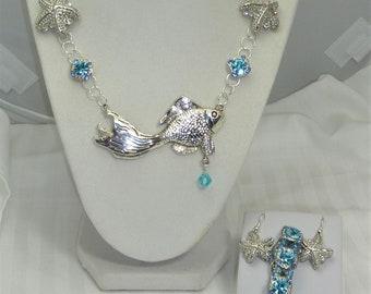 Fishing in the Blue Sea Necklace, Earrings, Bracelet