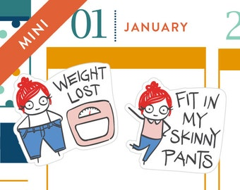 P052-Weight loss tracking stickers, planner stickers, Erin Condren, goal tracker, resolution stickers, weight scale, 20 stickers, MINI size
