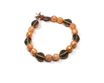 Bracelet beads faceted Bohemian caramel and copper metal