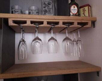Holder rack display for stemmed wine glasses