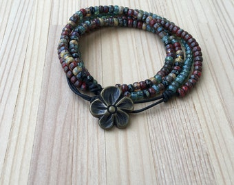 Beaded Boho Bracelet, Wrap Bracelet, Multi Strand Leather Bracelet, Layered, Button Closure, Seed Bead Bracelet, Gift For Her, Mother's Day
