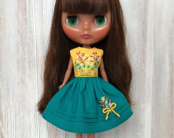 Blythe floral dress, doll clothes, yellow teal embroidered dress, doll outfit, 30 cm dolls clothes, 12 inch doll dress, Pullip dress