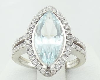 Substantial 2.75 Carat Stunning Aquamarine and Round Brilliant Diamond Accent 14K White Gold Ring FREE SHIPPING!  #14KWAQU-GR4