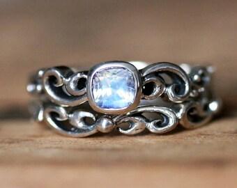 Moonstone wedding ring set, rainbow moonstone engagement ring antique wedding set alternative wedding ring bezel engagement ring water dream