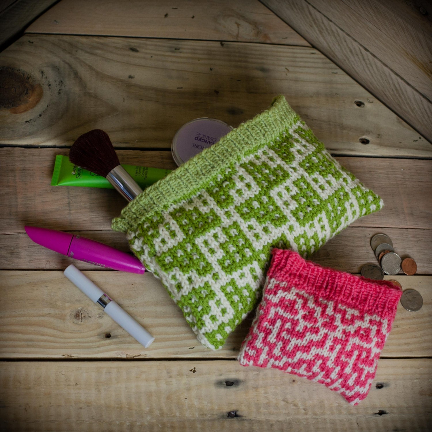 Loom Knit Change Purse, Wallet, Make Up Bag, Wristlet, Credit Card ...