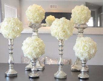 Wedding flower balls etsy set of 6 luxury elegant 8 wedding ivory hanging foam flower balls wedding pomanders kissing mightylinksfo