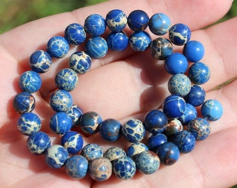 MULTICOLORED 6 MM BLUE SEDIMENT JASPER BEADS 4. *.