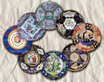 Dinner Plates One Inch Circles Doll House Jewelry Rounds Bezels Pendant Bottle Caps Buttons Badges Magnets Digital Collage Sheet 186