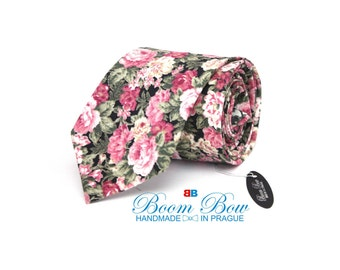 Mens Tie TC068 Pink peony Floral Handmade Cotton Men's necktie Wedding tie Boom Bow