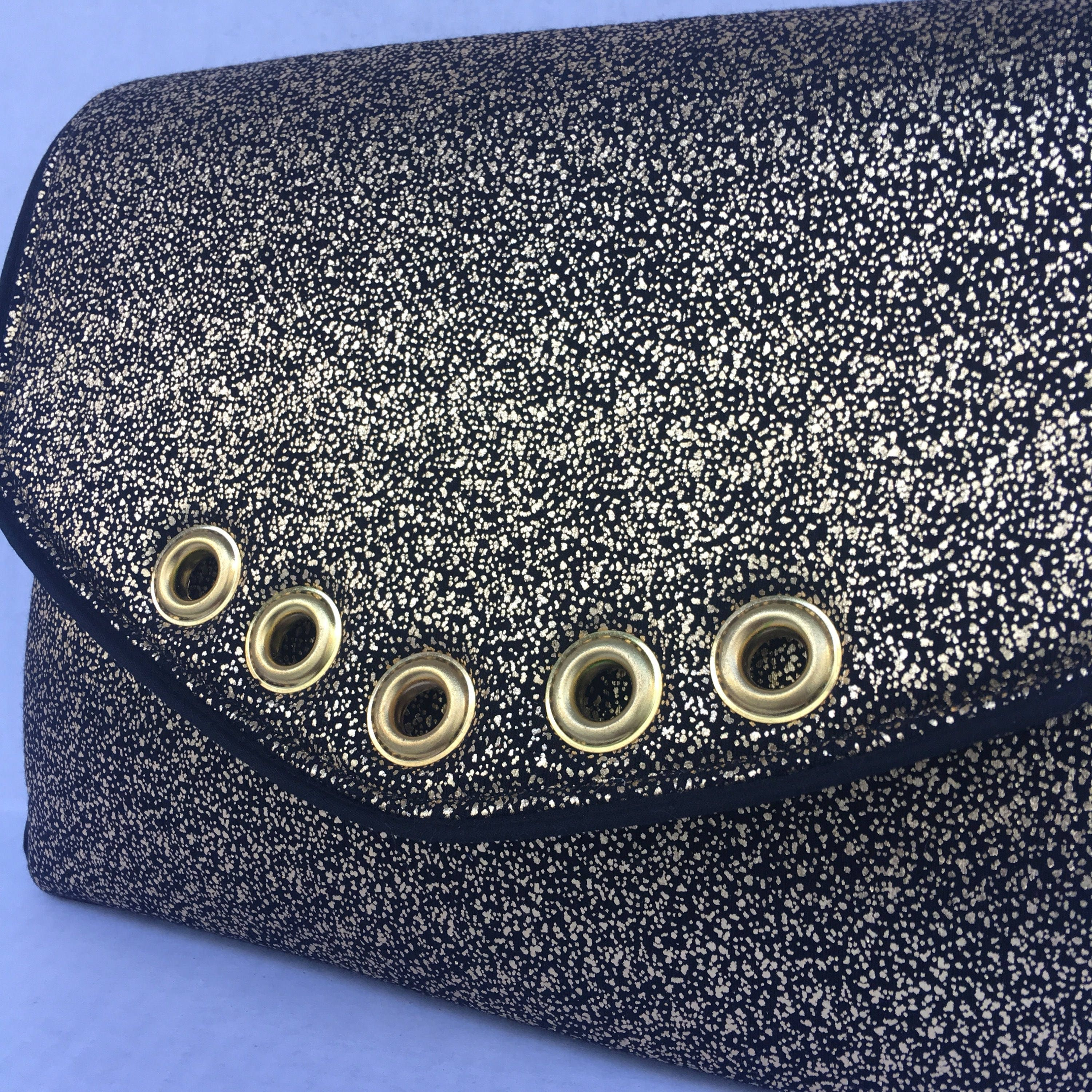 Elegant Sparkling Gold On Black Evening Bag Clutch With Fashion Brown Zoom