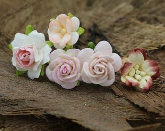 Mixed Pink , Peach White Mulberry Paper Flower Hair Pins , Bridal Hair Pins, Hair Bobby Pins,U pins,Prom,Bridal Hair Accessories (FL380)