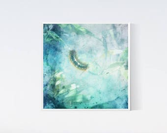 Caterpillar art, Blue nursery decor, Light blue art, Blue wall hanging, Square picture, 12x12 arts, Baby decor, Baby boy room decor Teal art