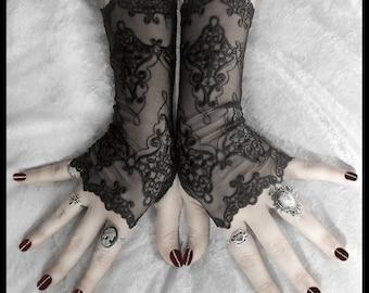 Arianna Long Lace Fingerless Gloves   Black Embroidered Damask   Gothic Vampire Wedding Fetish Dark Tribal Bellydance Burlesque Goth Bridal