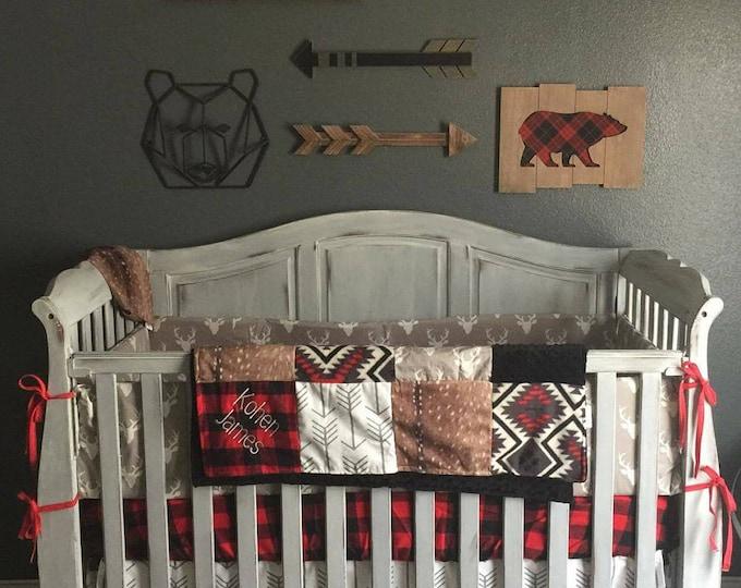 Featured listing image: Woodland Boy Crib Bedding- Gray Buck, Deer Skin Minky, White Gray Arrow, Aztec, Red Black Buffalo Check, and Black Crib Bedding Ensemble