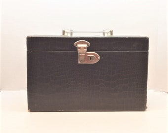 Wooden Train Case With Alligator-Look Print