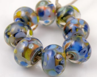 Anemone Swirls Made to Order SRA Lampwork Handmade Artisan Glass Donut/Round Beads Set of 8 8x12mm