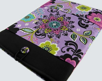 Macbook Air Case, Macbook Air Sleeve, Macbook 12 inch Case, 11 Inch Macbook Air Case, Laptop Sleeve, Purple and Black Floral