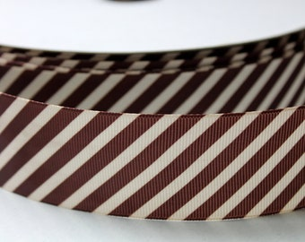 Diagonal Stripe Ribbon 1.5 inch wide Brown and Cream Stripes 5 or 10 yards