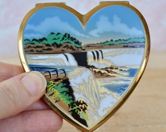 Vintage Heart-Shaped Compact with Powder Puff and Sifter Souvenir of Niagara Falls