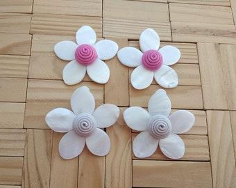 Mother Of Pearl Flower Earrings,Iris mini,Pearl Petal Bonbon,pink ivory Les Bon bons clip on,ss2018,Rebecca de Ravenel,gift for her,handmade