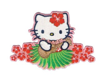 Hello Kitty Iron On Applique, Hello Kitty Patch, Ukulele Patch, Hello Kitty Applique, Kids Patch, Embroidered Patch, 3 x 4 inches