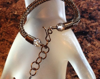 Antique Bronze Viking Knit Bracelet with Crystal Beads Adjustable from 6.5 Inches to 8 Inches Handmade Bracelet